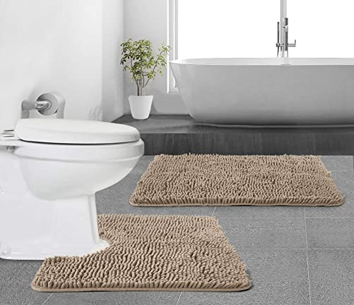 Gorilla Grip Original Shaggy Chenille 2 Piece Area Rug Set