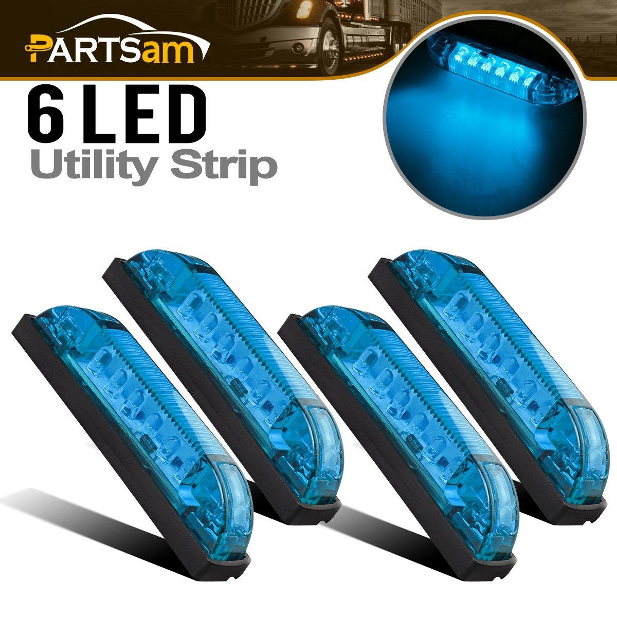 Boat Marine Lighting Parts Partsam 4X Blue 4 Led Marker Lights Slim Line LED Utility Strip Bar 6 Diodes Multi Use