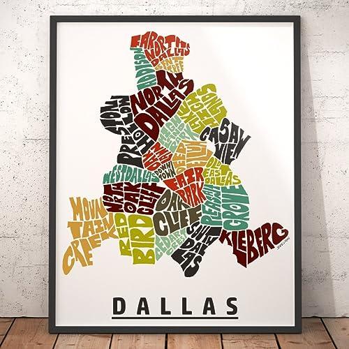 Amazon.com: DALLAS Neighborhood Map Art Print, Unique Dallas Decor on dallas council district map, dallas love map, dallas marathon map, dallas zip codes, dallas apartment map, dallas neighborhoods list, city of dallas map, templeton texas map, dallas regional map, dallas city district map, dallas community map, dallas oak cliff tx map, downtown vancouver neighborhoods map, dallas county map, dallas street map, dallas & surrounding ar4ea map, dallas fire district map, dallas map tx cities, dallas background, dallas town map,
