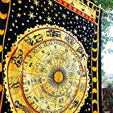 Yelloow Zodiac Indian Hippy Tapestries,bed sheets ,bed spread,hippy bed sheets,wall hangings,ethnic decor,home decor bed sheets,throw,picknic blankets,dorm tapestries By Montreal Tappesier