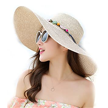 78c0929d7ad Image Unavailable. Image not available for. Color  WKING 2018 Hot women big  brim sun hats foldable colorful stone hand made straw hat female