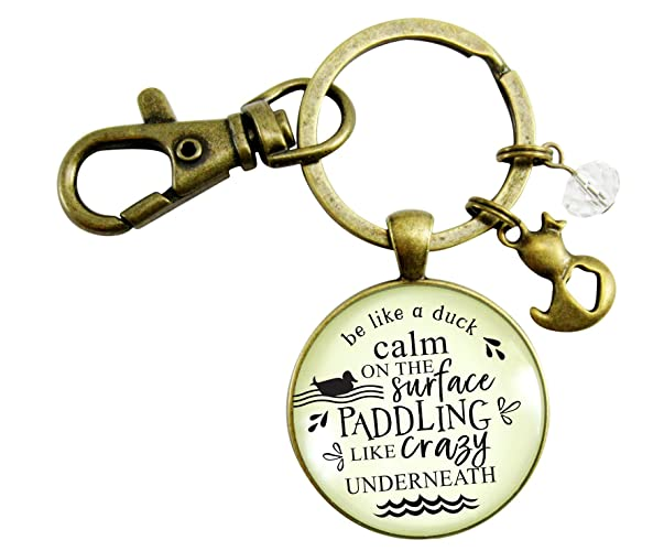 Amazoncom Inspirational Keychain Be Like A Duck Calm Paddling