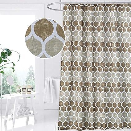 Amazon CAROMIO Geometric Fabric Shower Curtain Moroccan Ogee