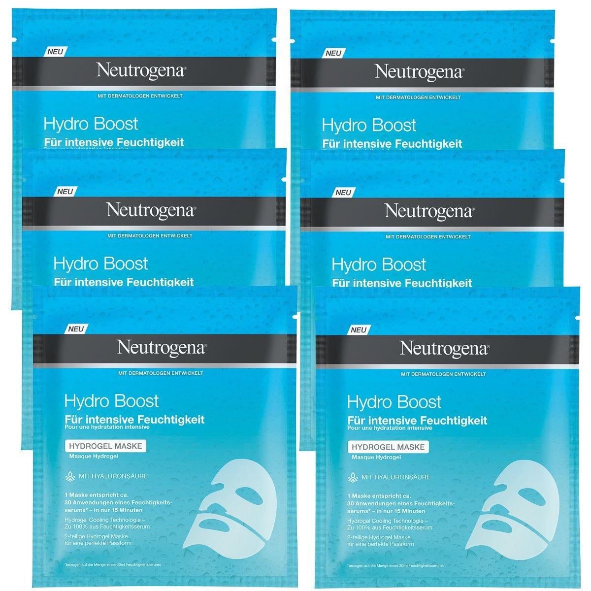 Neutrogena Hydro Boost idrogel Maschera, Confezione da (6X 10G) 93670