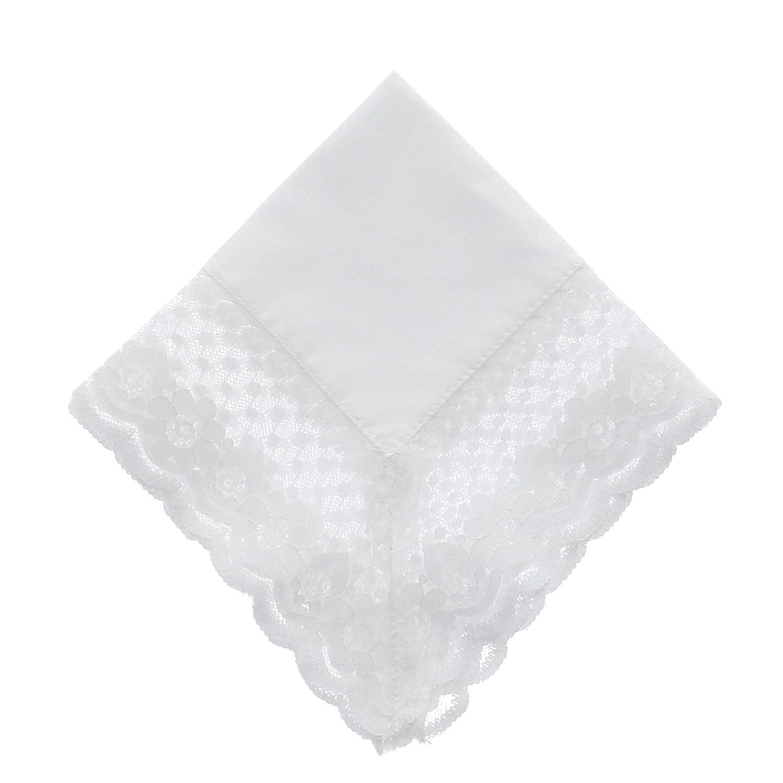 CTM Women's Abbey Crochet Lace Handkerchief White WO-05KL2014-WHT