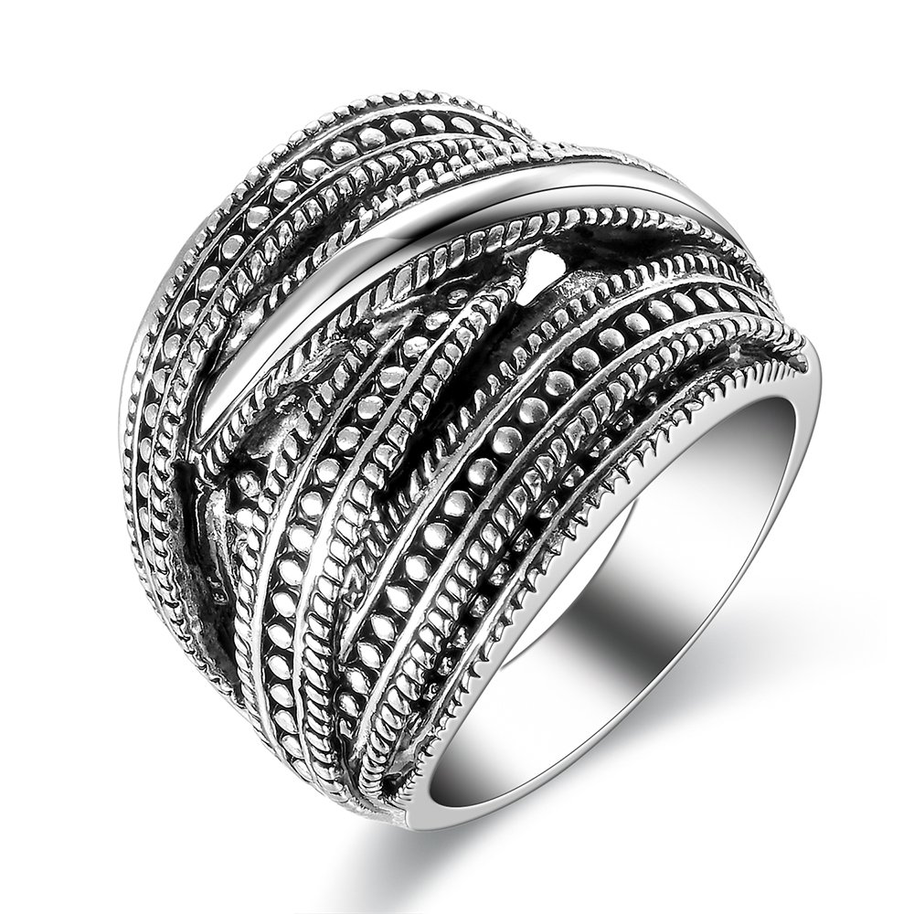 dnswez Vintage Punk Chunky Silver Oxidized Statement Rings Twine Intertwined Wide Band Ring for Women