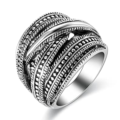 Mytys Black Marcasite Twist Multi Layer Silver Vintage Band Ring(8) MKVxhG