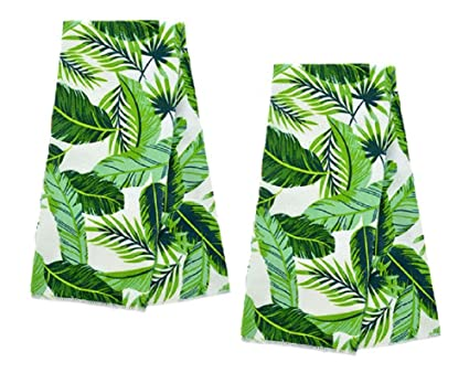 A&T Designs Set of 2 Palm Tree Leaves - Tropical Kitchen Hand Dish Towels