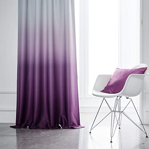 Yakamok Ombre Purple Blackout Curtains Room Darkening Gradient Color Panels Thermal Insulated Rod Pocket Window Drapes for Bedroom Purple, 2 Panels, 52×96 Inch