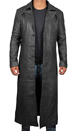 aliexpress shop largest selection of 2019 Leather Trench Coat Mens - 100% Real Leather Duster Overcoat ...