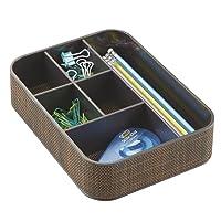 mDesign organiseur de bureau avec 6 compartiments – boîte de rangement pour crayons, trombones, bloc-notes – l'accessoire d'organisation parfait pour fournitures de bureau – couleur : bronze