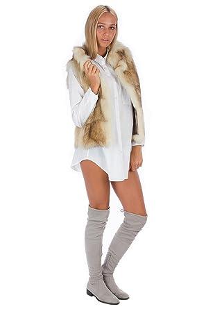 Waschbar Fellweste Luxus Pelz Fashion Blogger Style Grosse 38 40