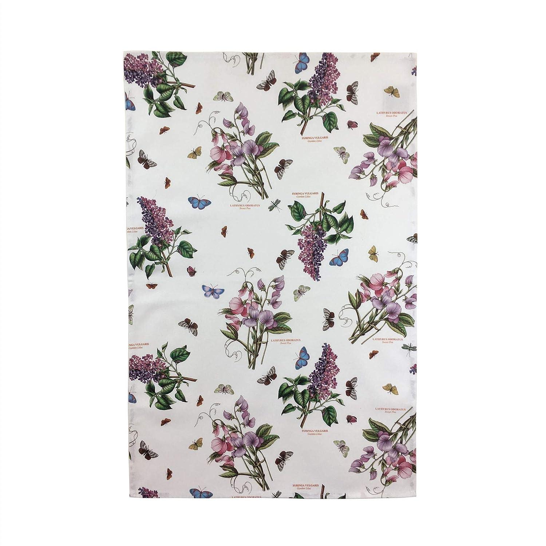 Floral Flowers Butterflies White Green 100/% Cotton TEA TOWEL 45CM X 74CM