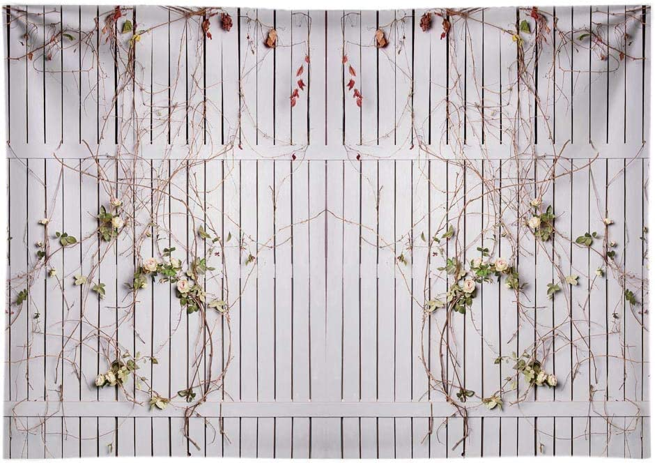 Funnytree 7x5FT Durable Fabric Spring White Wooden Fence Wedding Photography Backdrop Twined with Roses Leaves Party Banner Decor Photo Background Photocall Photobooth