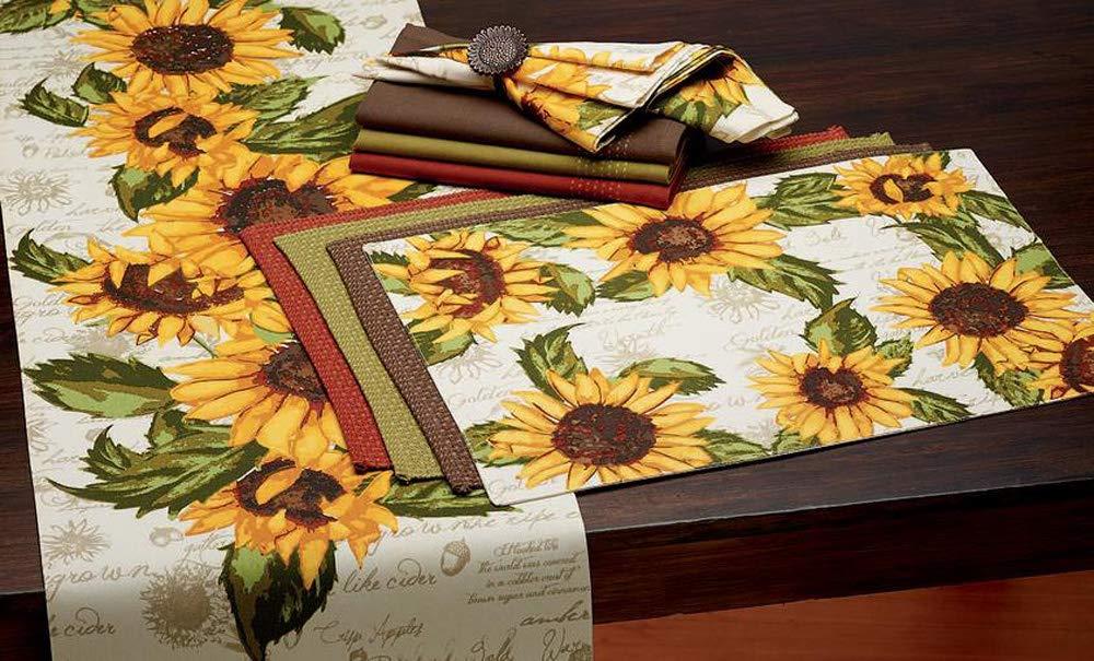 DII Rustic Sunflowers Printed Table Runner Multi