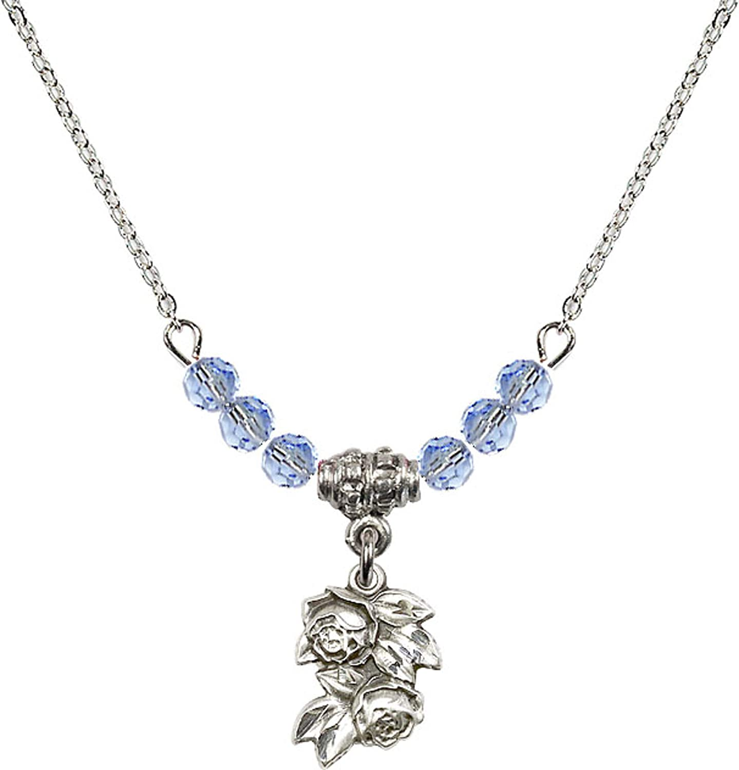 Bonyak Jewelry 18 Inch Rhodium Plated Necklace w// 4mm Light Blue September Birth Month Stone Beads and Rose Charm