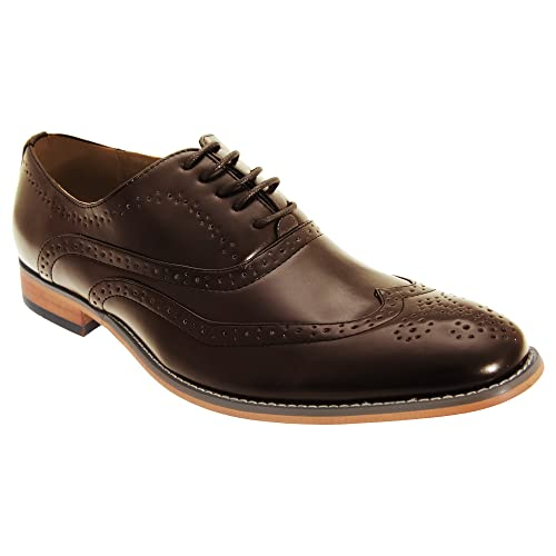 Zapatos Brogue Oxford con forro interior de piel, para hombre, con 5ojales, color marrón, talla 45 EU