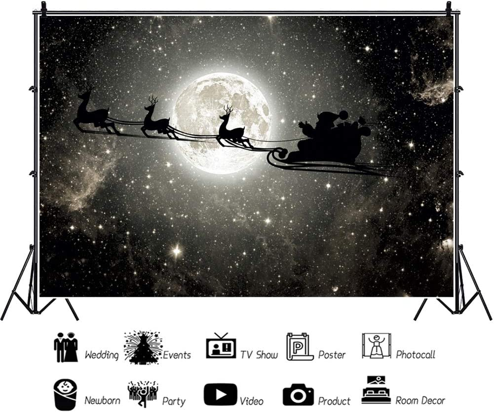 Leowefowa Dreamy Starry Nightsky Glowing Full Moon Santa Claus Driving Reindeers Backdrop 10x8ft Merry Christmas Photography Background Child Baby Photo Shoot Xmas Party Decor Wallpaper