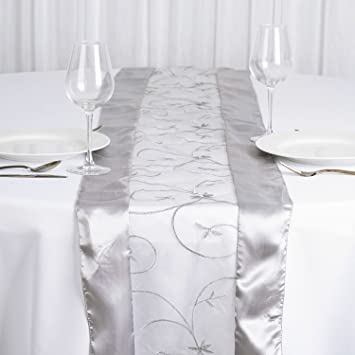 BalsaCircle 14u0026quot; X 108u0026quot; Table Runner With Satin Edges And  Embroidered Organza   Silver