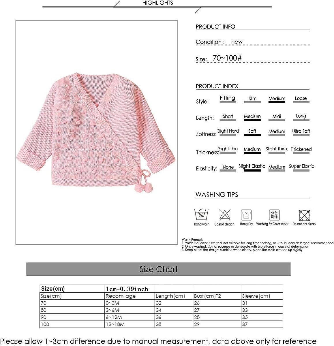 Borlai 0-18 Months Baby Knitted Cardigan Unisex Long Sleeve Soft Warm Sweater Coat