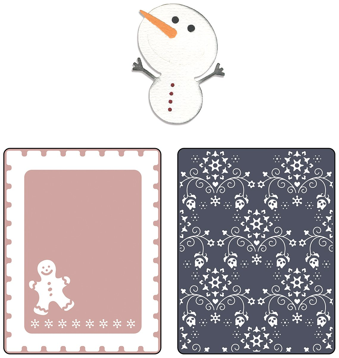 Sizzix Textured Impressions Embossing Folders with Bonus Sizzlits Die - Snowmen Set by BasicGrey Ellison 658198