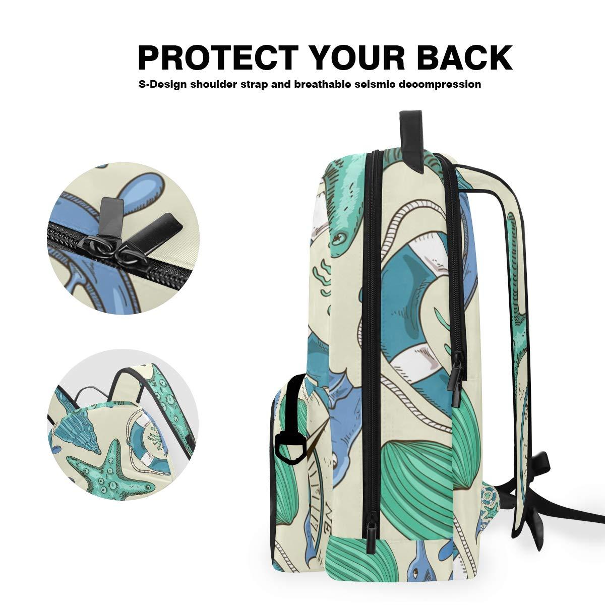 Ship Compass Art Shoulder Backpack Messenger Crossbody Laptop Bag Student Bookbags for Kid Girls Boys