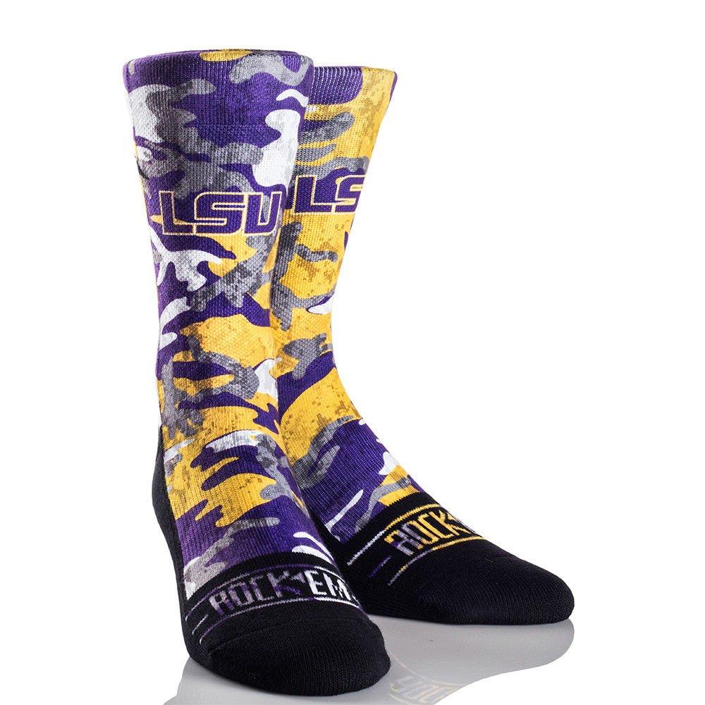 ARMORED CAMO Licensed L//XL Crew Socks Rock Em Elite LSU Tigers