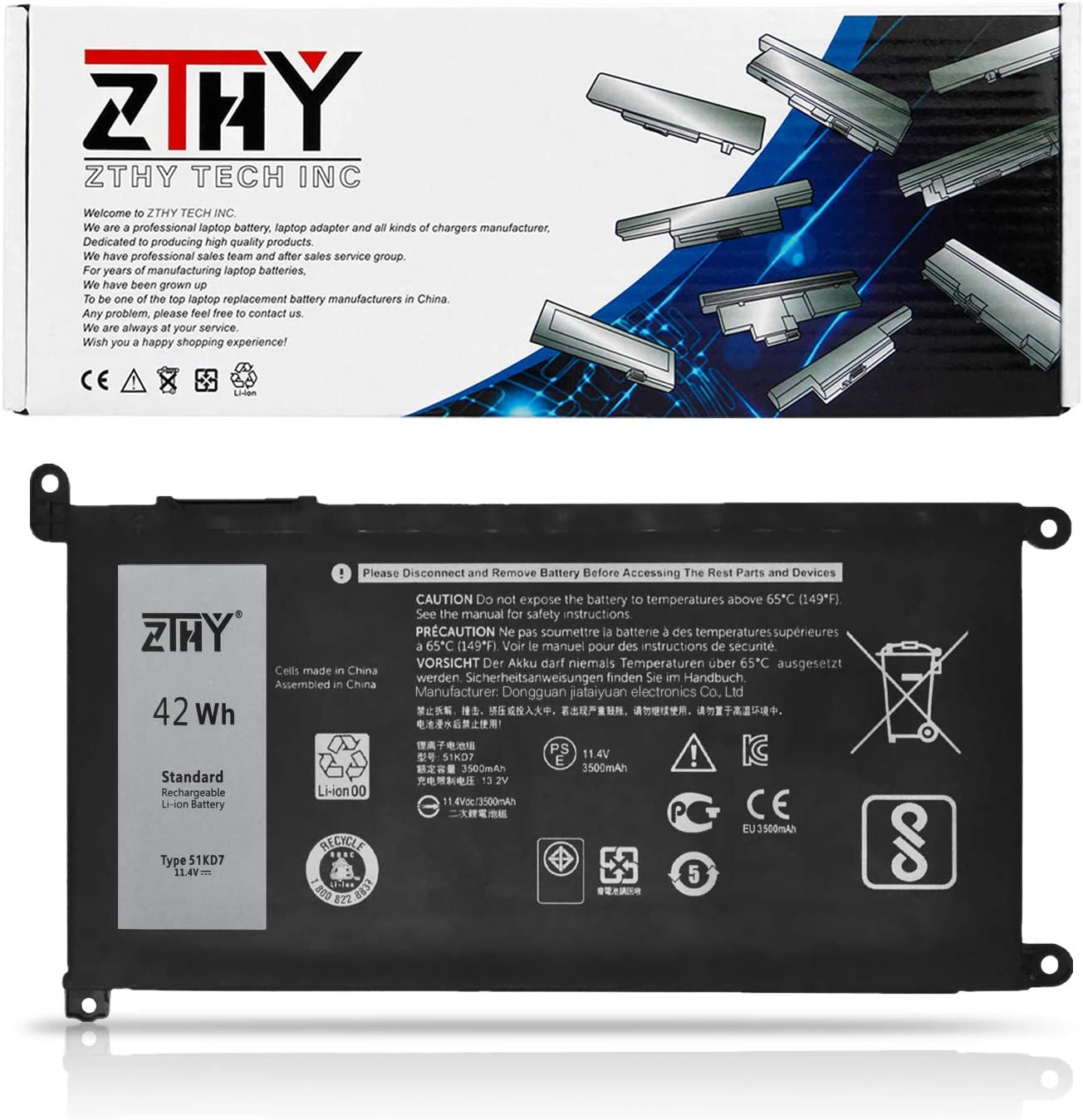 ZTHY 51KD7 Laptop Battery Replacement for Dell Chromebook 11 3180 3189 5190 3181 2-in-1 Series P28T001 Y07HK FY8XM 0FY8XM 11.4V 42Wh 3-Cell 3500mAh