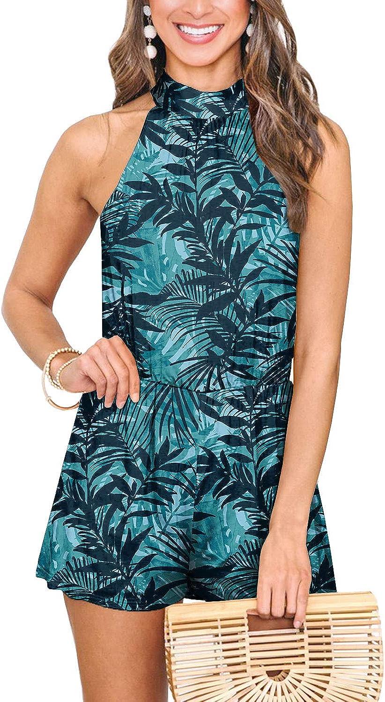 Spadehill Womens Summer Floral Print Sleeveless Beach Rompers