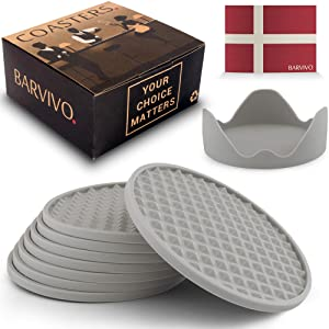 Barvivo Drink Coasters Set of 8 /w Holder - Tabletop Protection for Any Table Type, Wood, Granite, Glass, Soapstone, Sandstone, Stone Tables - Perfect Soft Coaster Fits Any Size of Drinking Glasses.