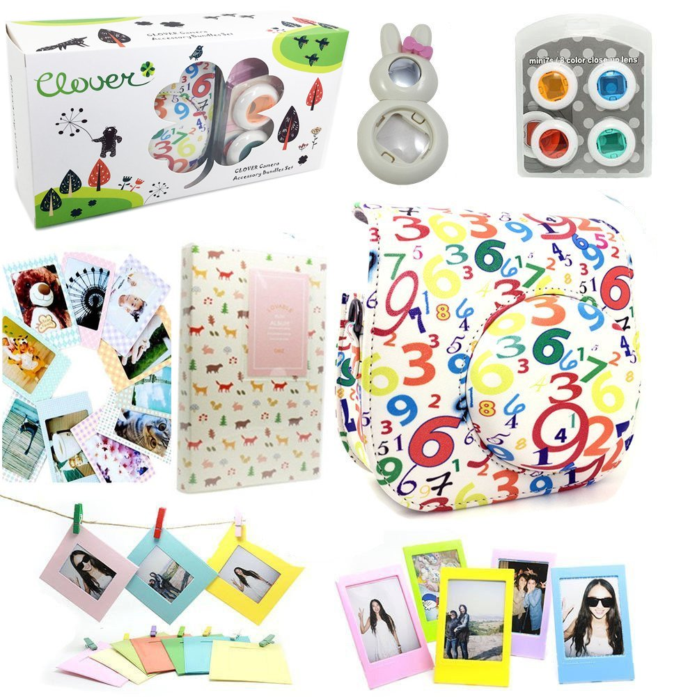 CLOVER 7 in 1 Accessory Bundles Set For Fujifilm Instax Mini 8 Instant Camera (Numbers Case Bag/ Album/ Colorful Filter/ Rabbit Close-Up Lens / Wall Hanging Frame/ Photo Frame/ Sticker Borders) by Clover