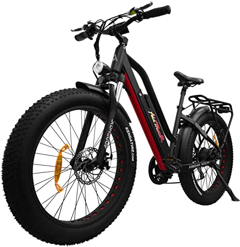 Addmotor MOTAN Electric Bicycles with Pedals, E Bikes Step Thru,26 Inch Fat Tires 750W Black Red Motor Bike with 48V 11.6Ah Removable Lithium-Ion Battery Women Men M-450 P7 7 Days Delivery