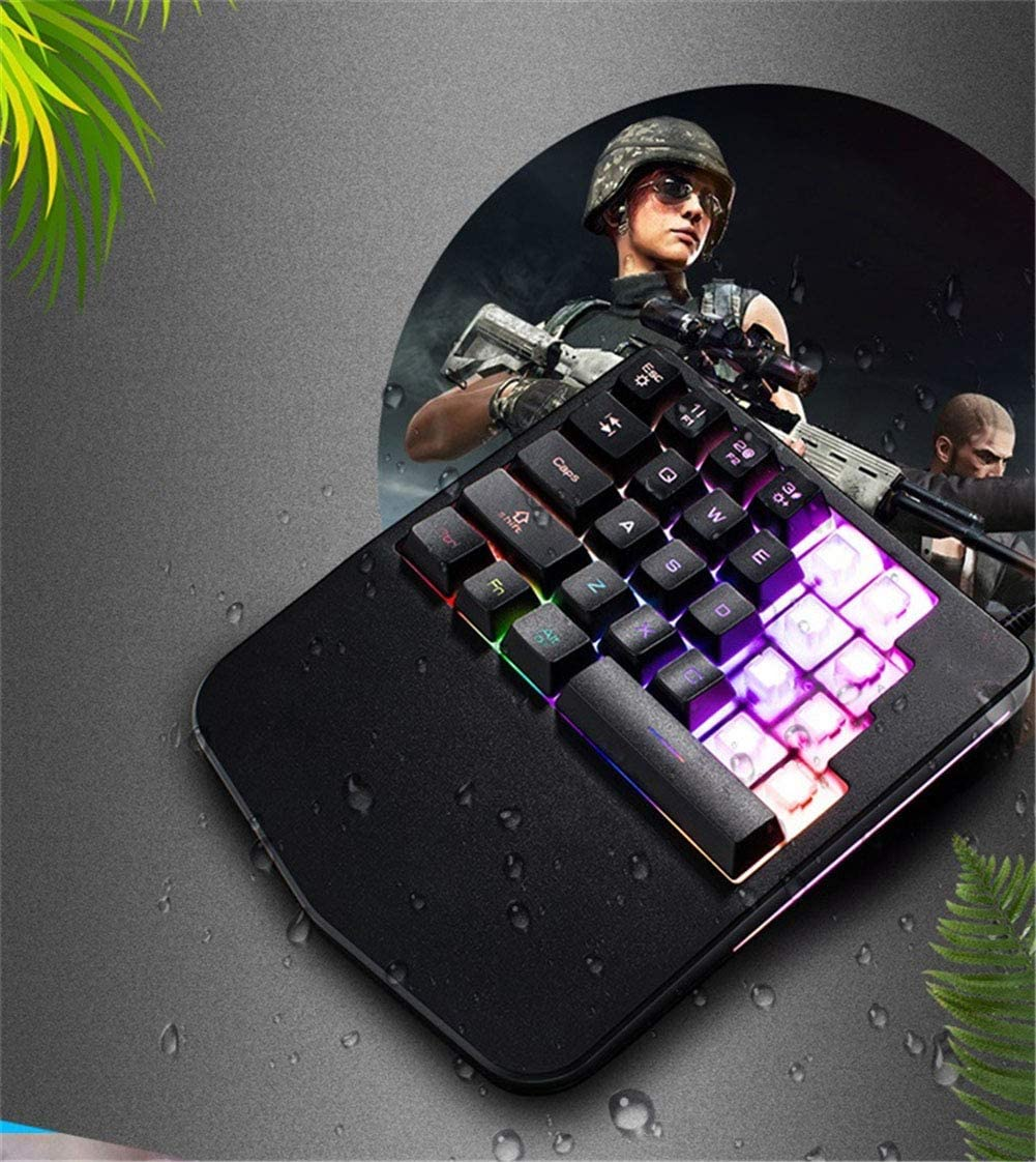 Quick Responsive Gaming Keypad with Wrist Rest USB Wired Half Keyboard RGB Backlit 28 Keys WANGJIANGLI Single Hand Mechanical Gaming Keyboard