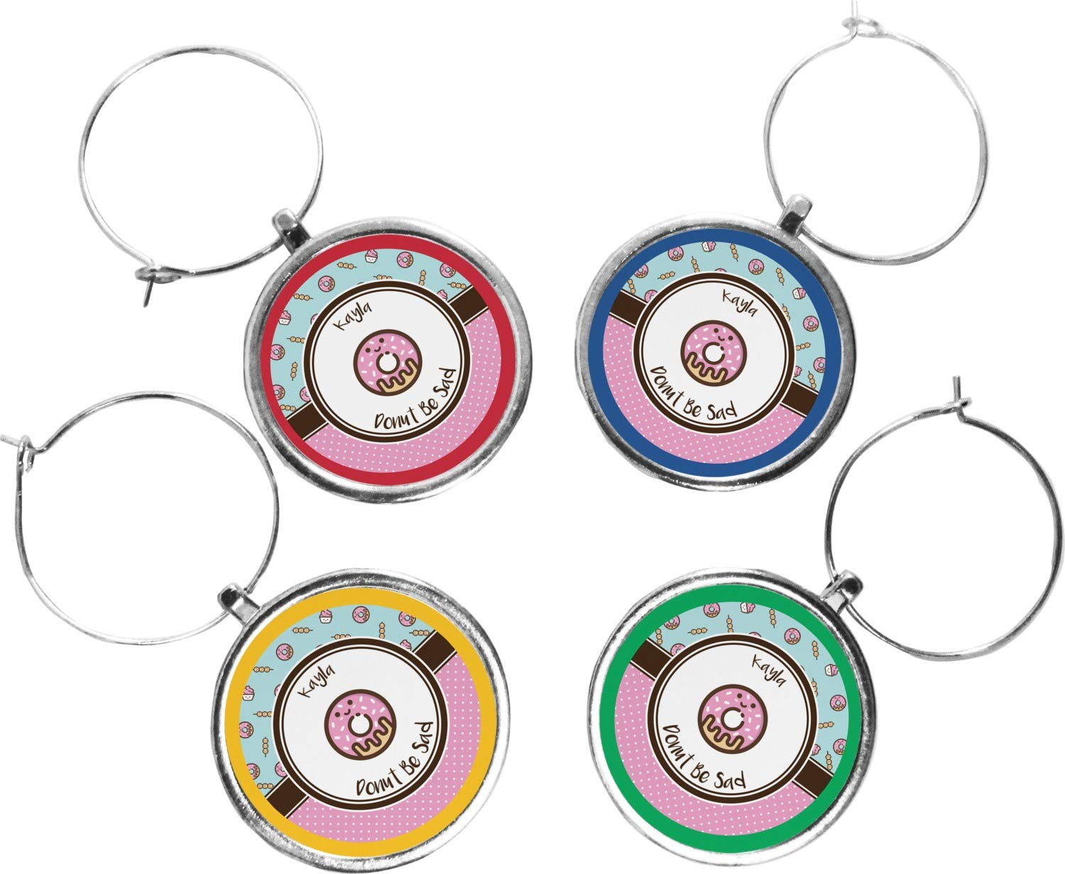 Donuts Wine Charms ( Set of 4 ) ( Personalized )   B076ZQQ6L2