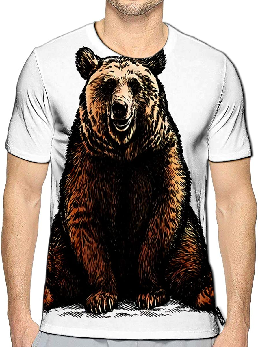 3D Printed T-Shirts Engrave Bear Sketch Linear Art Short Sleeve Tops Tees