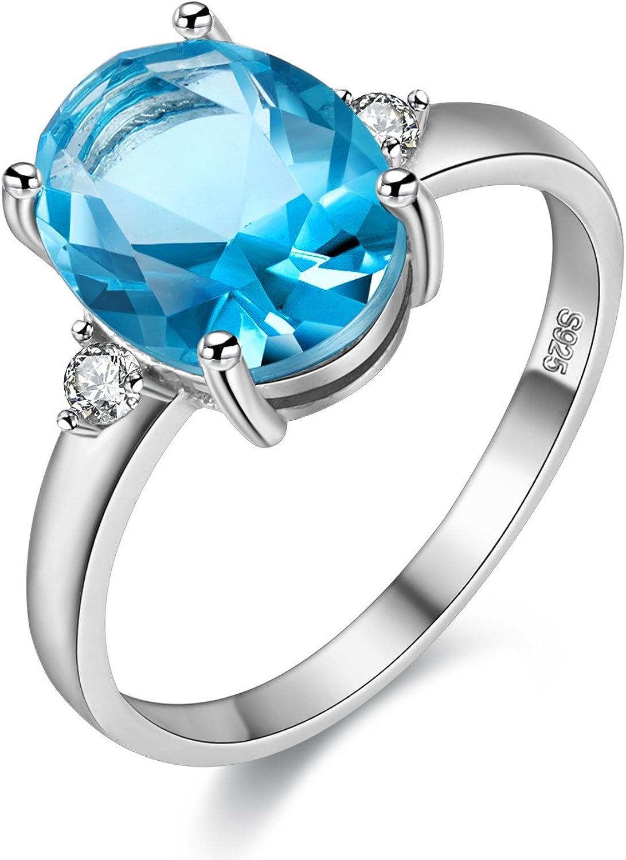 Uloveido Anillo de tamaño ajustable de topacio azul 1.5ct para mujer, plata de ley 925 para compromiso de boda FJ106