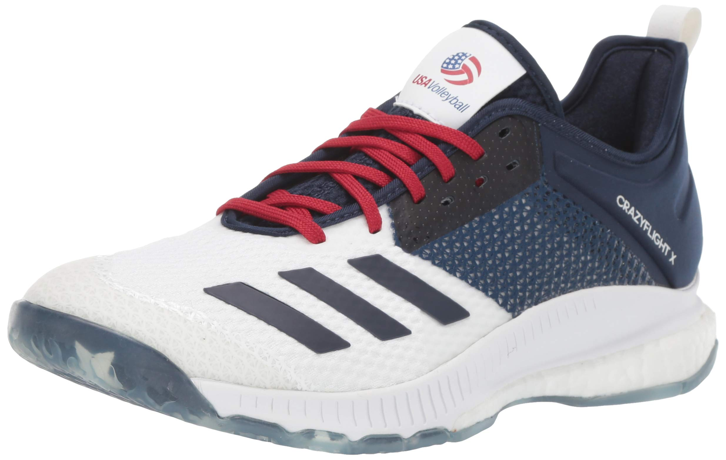 adidas Women's Crazyflight X3 USAV Volleyball Shoe, White/Collegiate navy/power Red, 10 M US by adidas