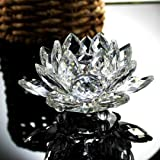 Nesee Lotus Crystal Candle Holder, Colorful Crystal Glass Lotus Flower Candle Tea Light Holder Buddhist Candlestick (A)