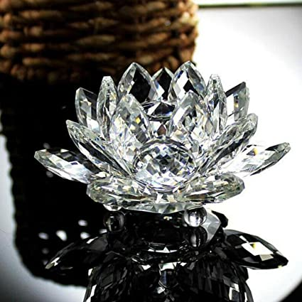 Amazoncom Nesee Lotus Crystal Candle Holder Colorful Crystal