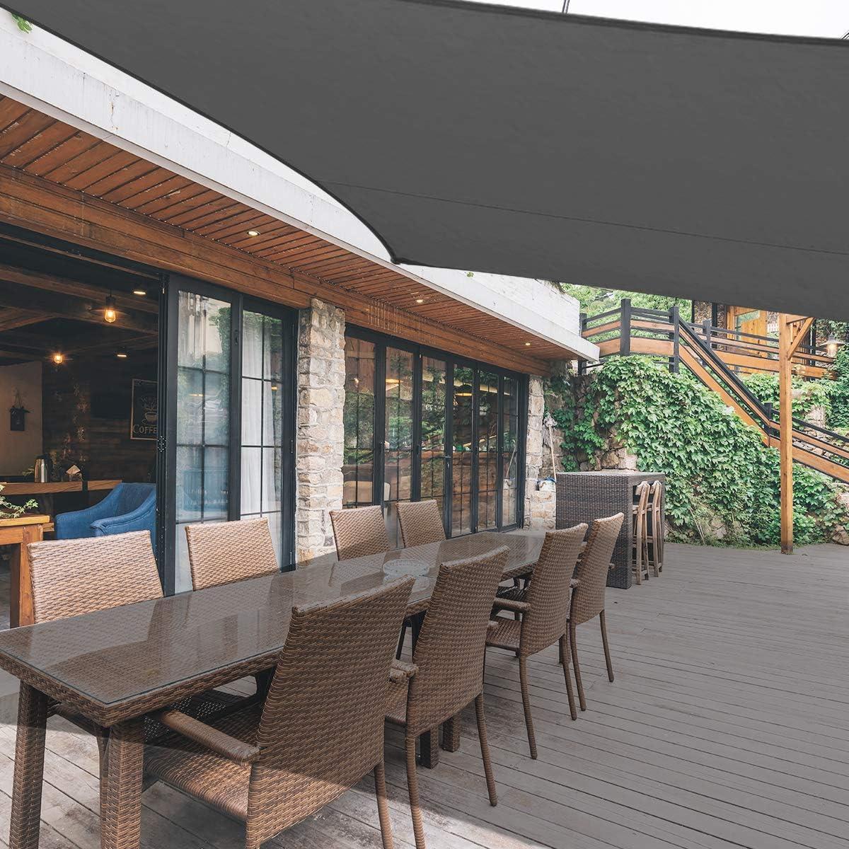 AXT SHADE 13 x 19 5 Rectangle Sun Shade Sail UV Block for Outdoor Patio Garden Backyard Lawn, Charcoal