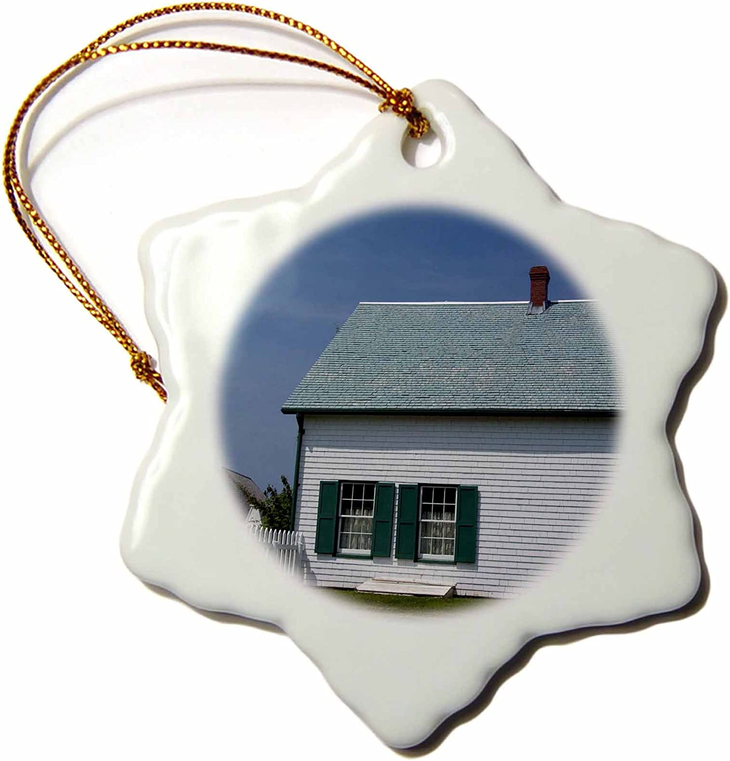 3dRose ORN_74492_1 Prince Edward Island, Anne of Green Gables Home CN09 CMI0158 Cindy Miller Hopkins Snowflake Porcelain Ornament, 3-Inch