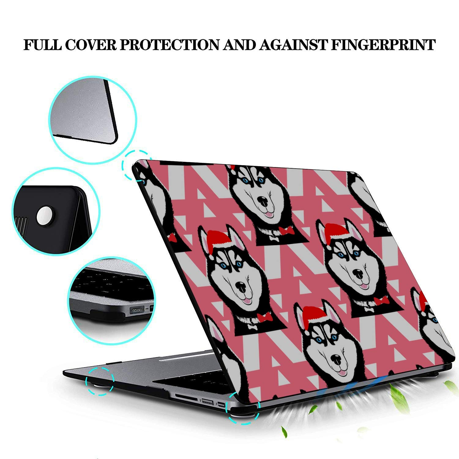 Cover for Laptop Smart Cartoon Cute Pet Dog Husky Plastic Hard Shell Compatible Mac Air 11 Pro 13 15 Air Case Protection for MacBook 2016-2019 Version