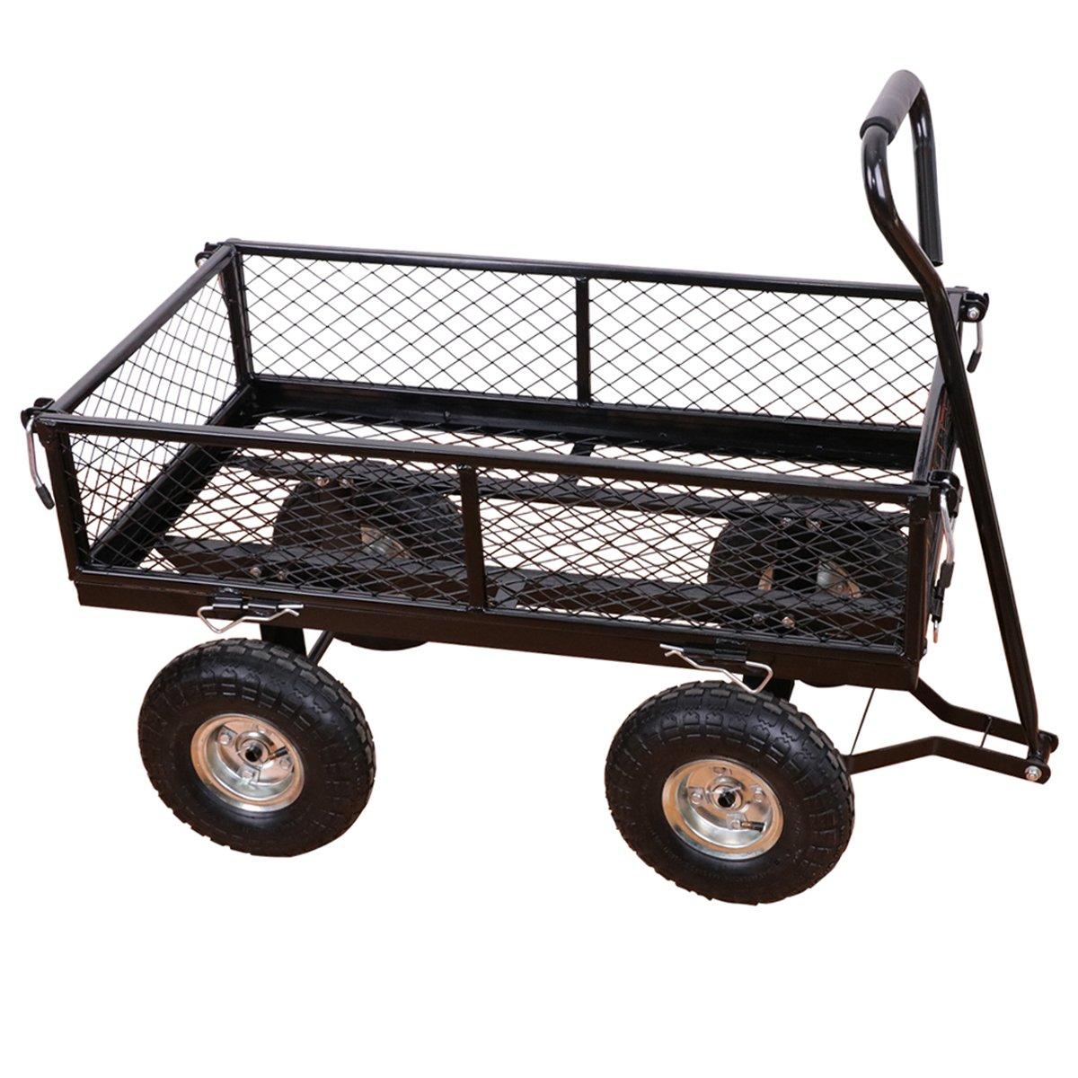 Yardeen LAGUNA Steel Wagon Cart Heavy Duty Outdoor Large Garden Trolley Load Capacity 400LB Color Black