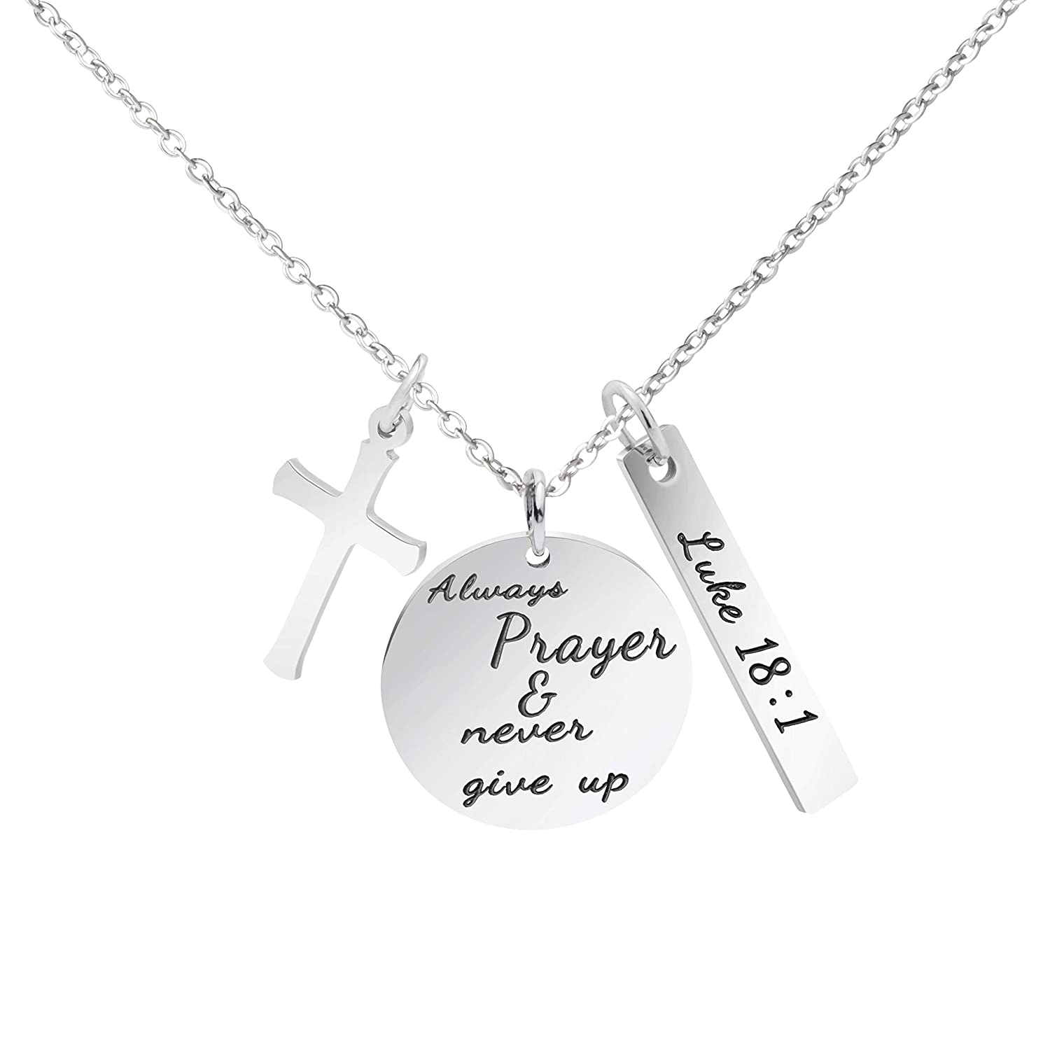 MEMGIFT Bible Verse Cross Pendant Christian Necklace Prayer Charm Faith Religious Jewelry...