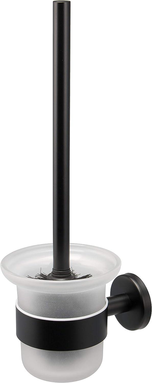 bremermann Bad Serie Piazza Black WC Garnitur Toilettenbürste Glas & matt schwarzer Edelstahl