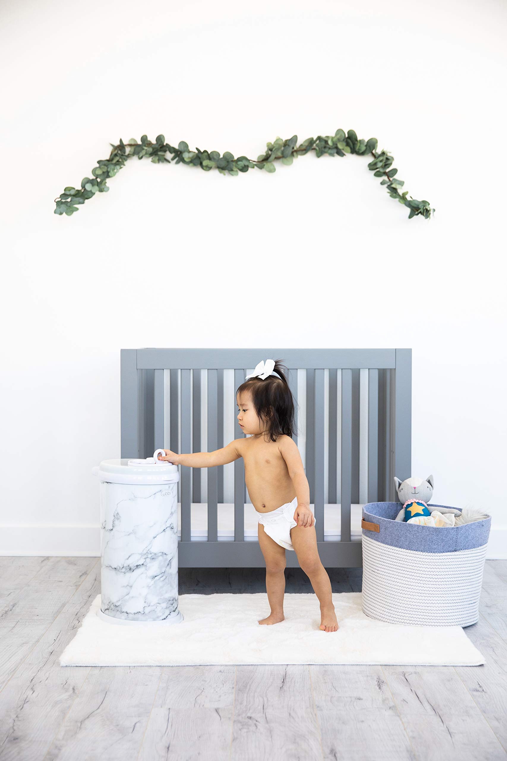 Ubbi Steel Odor Locking, No Special Bag Required Money Saving, Awards-Winning, Modern Design Registry Must-Have Diaper Pail, Marble by Ubbi (Image #5)