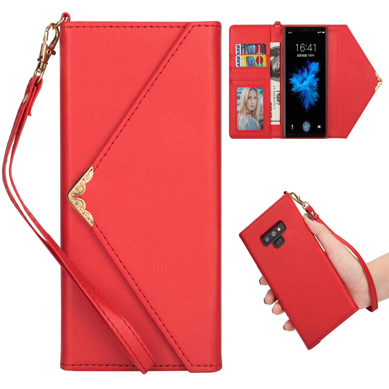 Shinyzone Stylish Envelope Design Case for Samsung Galaxy Note 9,Premium Leather Wallet Case with Credit Card Holder & Wrist Strap Handbag Magnetic Flip Cover,Rose Red