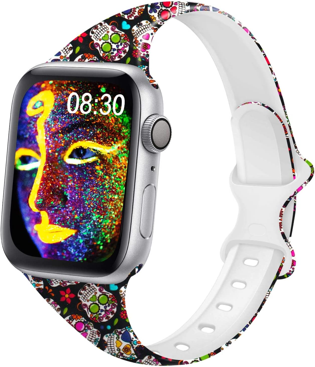 DYKEISS Pattern Printed Slim Silicone Band Compatible for Apple Watch Band 38mm 42mm 40mm 44mm, Fadeless Floral Thin Narrow Replacement Strap for iWatch Series 5/4/3/2/1 (Colorful Skull, 42mm/44mm)