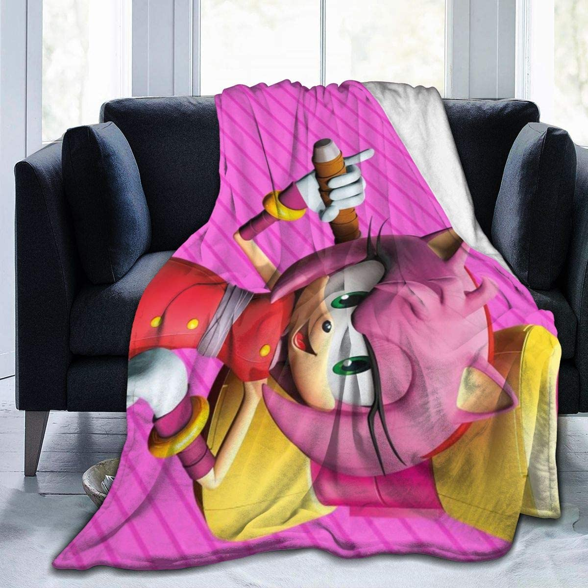 Amazon Com Sonic Boom Amy Rose Anime Warm Soft Novelty Ultra Soft Micro Fleece Throw Blanket For Living Room Bedroom 50 X40 Home Kitchen