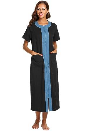 84d56c4a92 Image Unavailable. Image not available for. Color  Ekouaer Women s Long Robe  Zipper Short Sleeve ...
